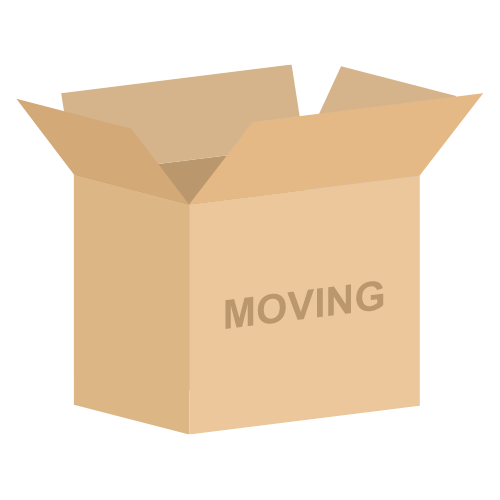 Box with moving label